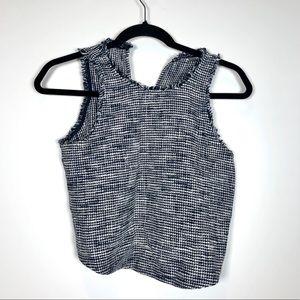 Navy Zara Tweed Crop